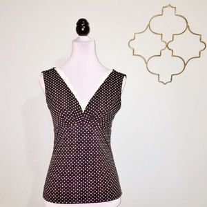 WHBM black & white polka dot lace trim top